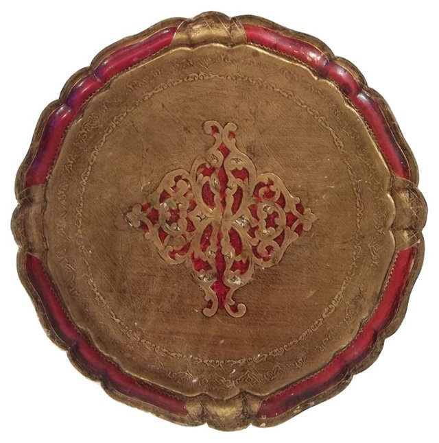Red & Gold Florentine Serving Tray
