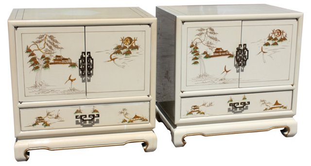 Asian-Style  Lacquered Nightstands, Pair
