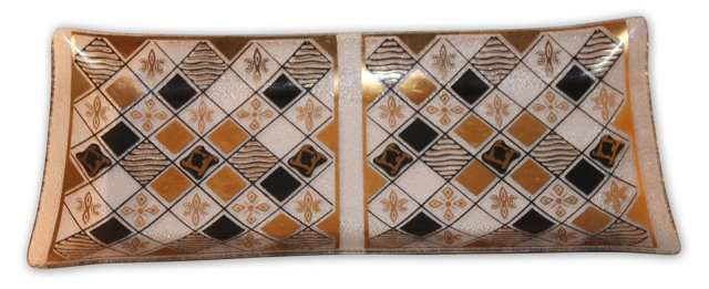 1960s Gold & Black Glass Trinket Tray