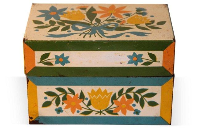 Tin Recipe Box w/ Dutch Motif