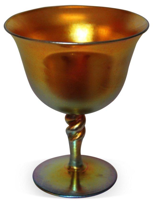 1930s Steuben Gold Aurene Goblet, Signed