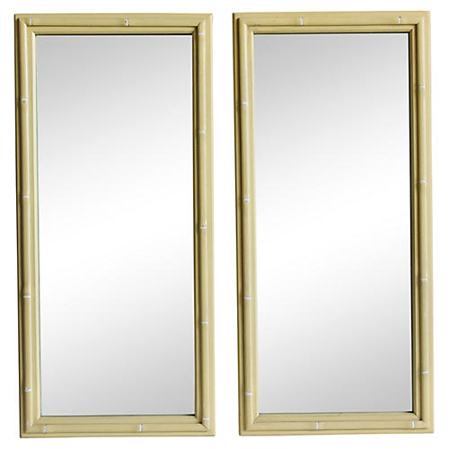 Faux-Bamboo Mirrors, Pair
