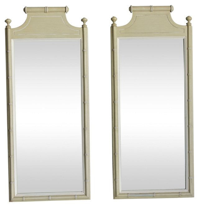1960s Faux-Bamboo  Mirrors, Pair