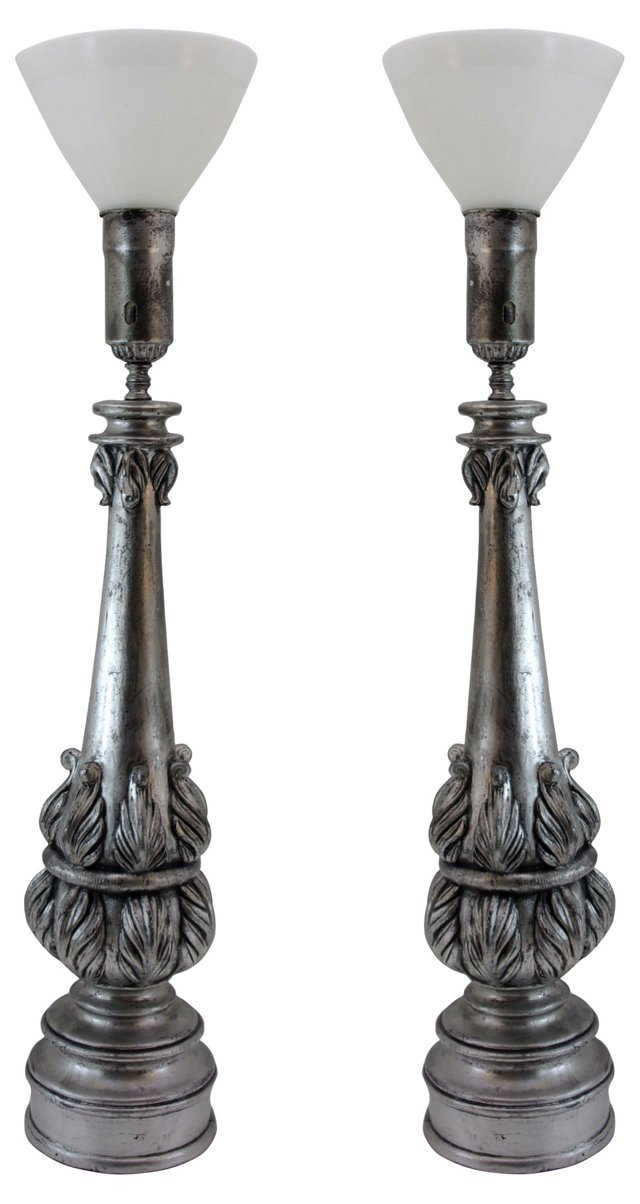 Monumental Acanthus Column Lamps, Pair