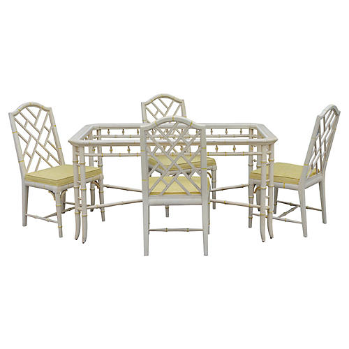 70s Faux Bamboo Dining Set 5 Pcs