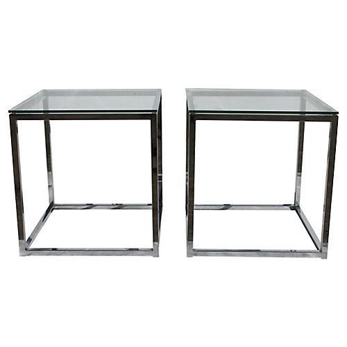 Mid-Century Modern Chrome Tables, Pair
