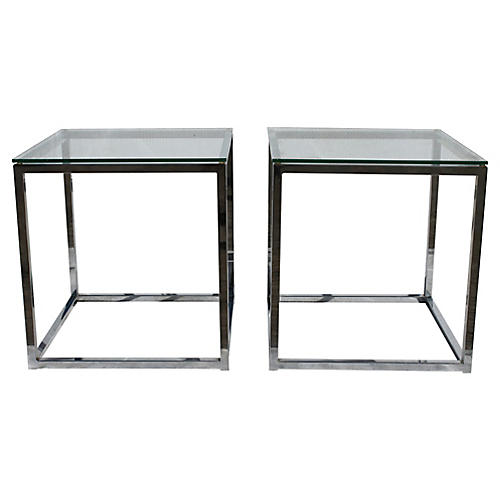 Mid-Century Modern Chrome Tables, Pair