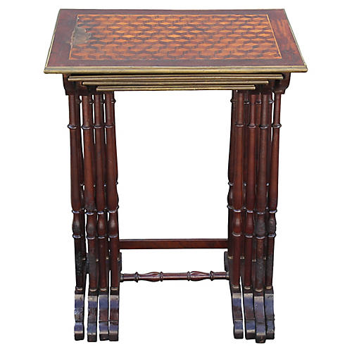 Antique Parquetry Nesting Tables, S/4