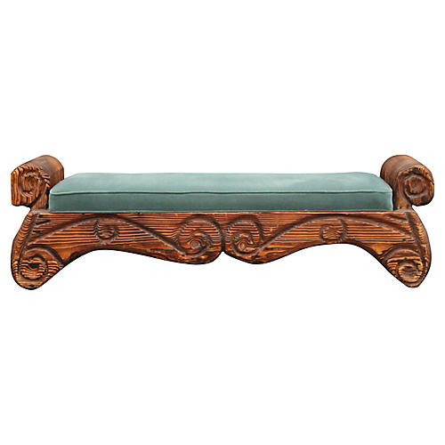1940s Carved Wood Bench