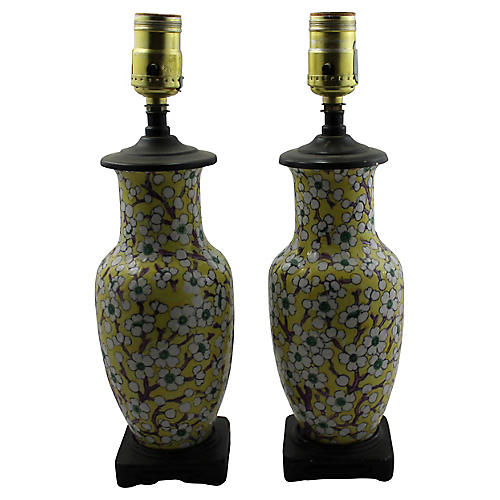 Midcentury Floral Table Lamps, S/2