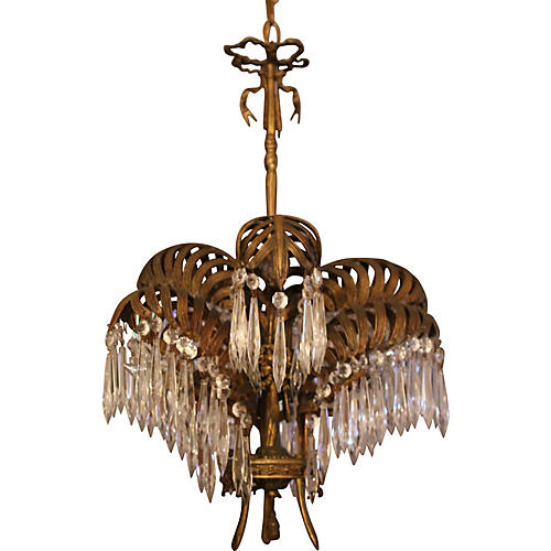 1920s French Art Deco Palm Chandelier