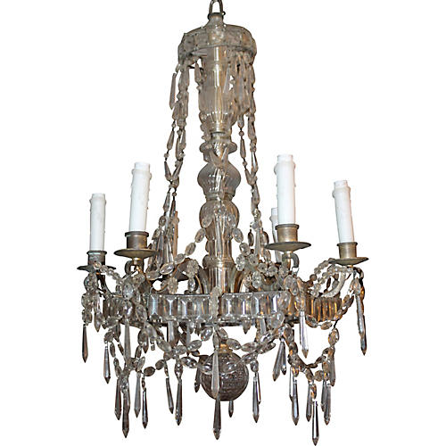 French Deco Bagues Chandelier, C. 1920