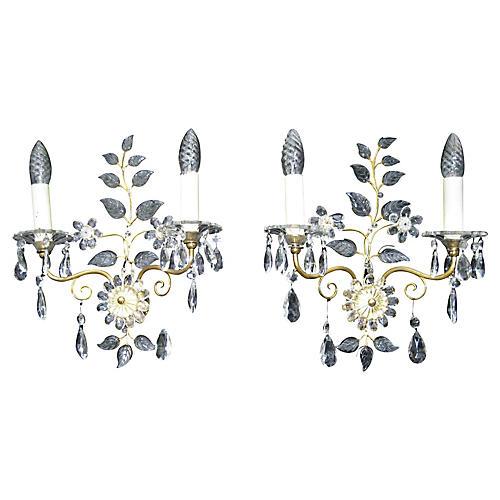Maison Bagues-Style Crystal Sconces, S/2