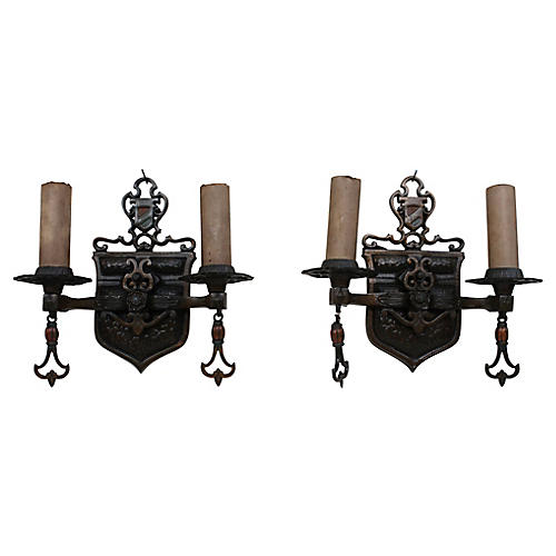 French Renaissance Revival Sconces, S/2