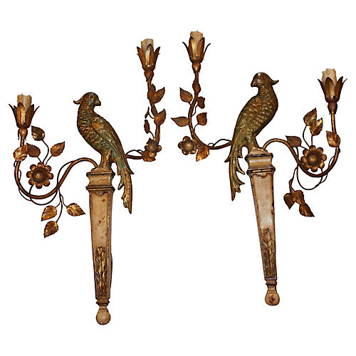 1940s Baguès Parrot Sconces, Pair