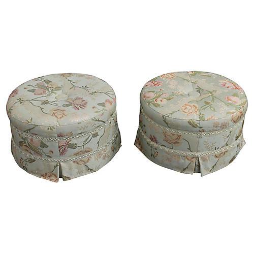 Pair Of Silk Footstools/Vanity Poufs