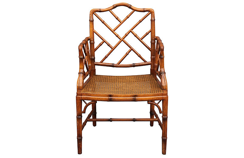 Vintage Faux Bamboo Campaign Armchair