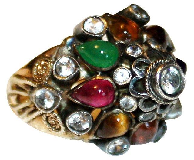 14K Multi-Gemstone Princess Ring
