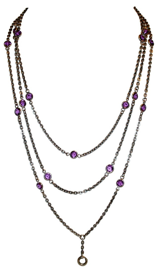 Victorian Amethyst Long Chain