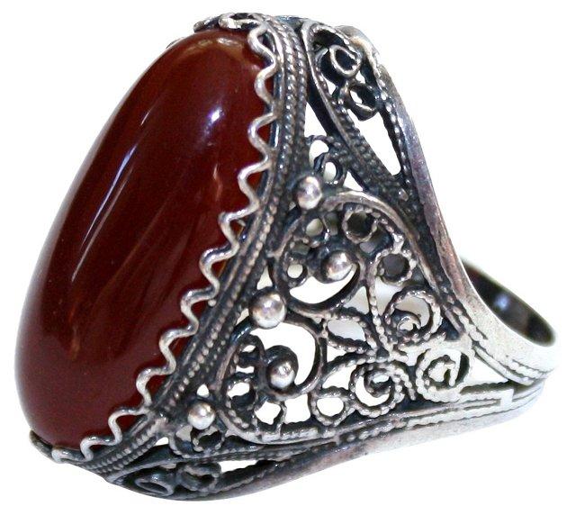 1920s Sterling Filigree Carnelian Ring