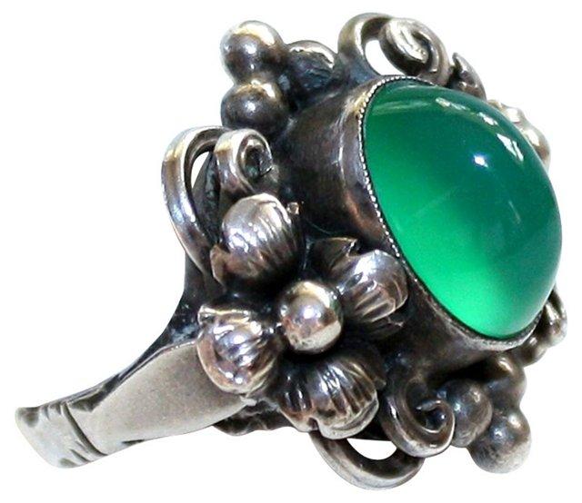 Sterling Ring w/ Chrysoprase Cabochon
