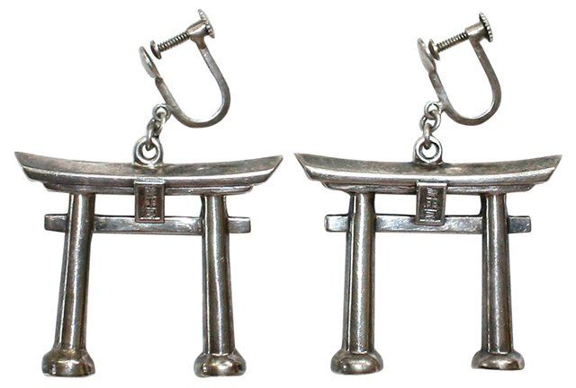 1940s Sterling Torii Gate Earrings