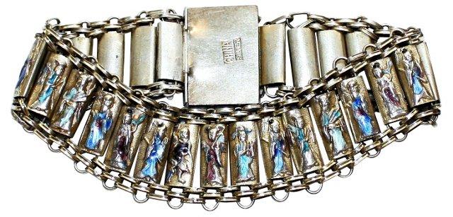 Chinese Canton Enamel Repoussé Bracelet