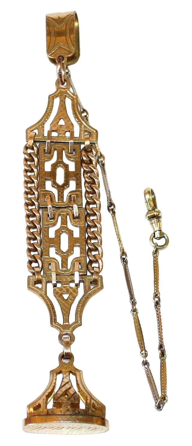 Gold-Filled Watch Chain & Fob
