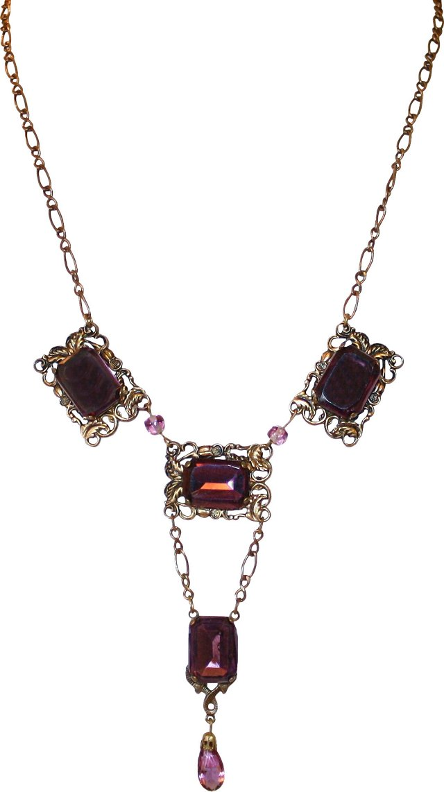 1920s Necklace w/ Purple Faceted Glass