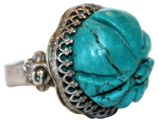 Sterling & Carved Turquoise Ring