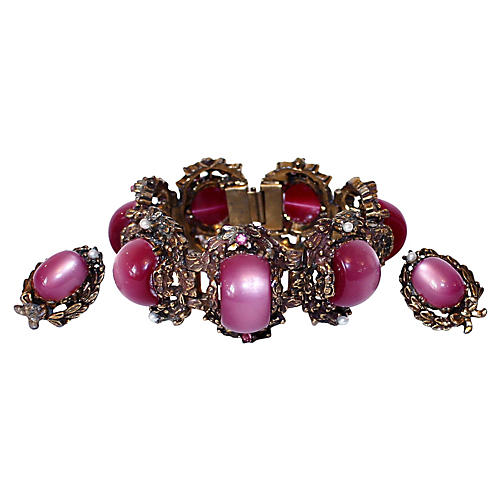 Fuchsia Thermoset Bracelet & Earrings