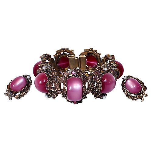 Fuchsia Thermoset Bracelet & Earrings