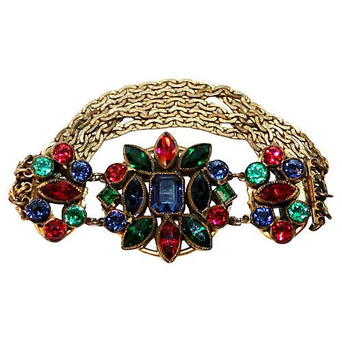 1930s Czech Jewel-Tone Bracelet