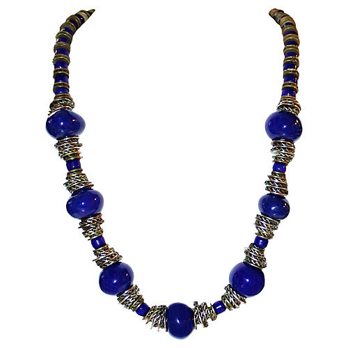 Cobalt Ceramic Bead Necklace