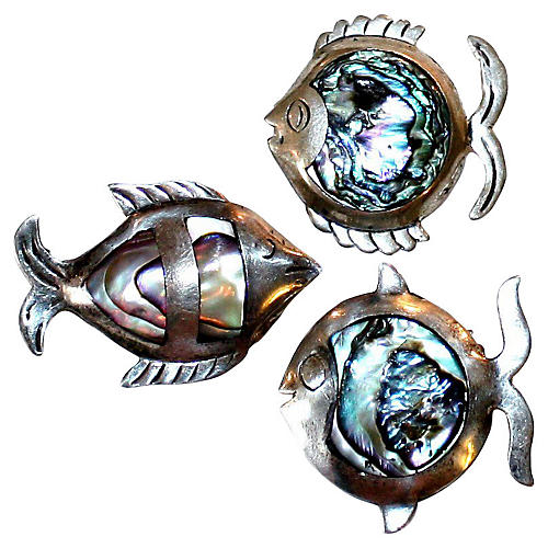 Sterling & Abalone Fish Pins, S/3