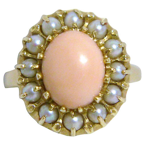 14K Gold, & Coral Cabochon Ring