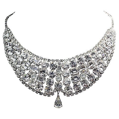 1950s Faceted Crystal Bib Necklace
