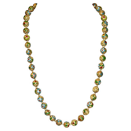 Chinese Cloisonné Bead Necklace