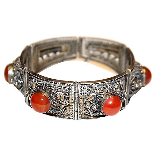 Chinese Carnelian Cabochon Bracelet
