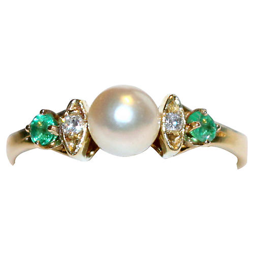 14K Gold Pearl, Diamond & Emerald Ring
