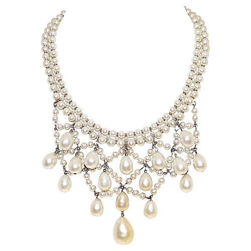 French Faux-Pearl Bib Necklace
