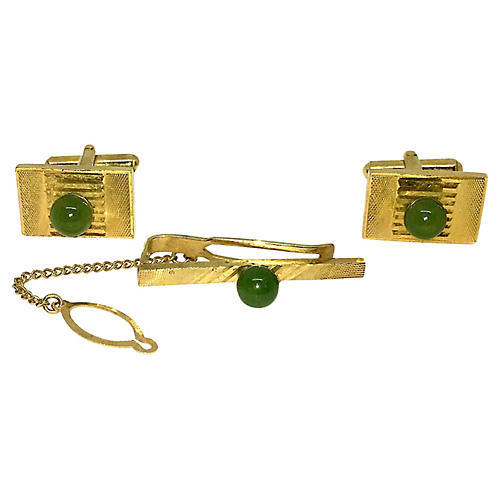 Jade Cufflinks & Tie Bar