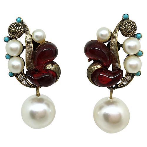Molded Glass & Faux-Pearl Earrings