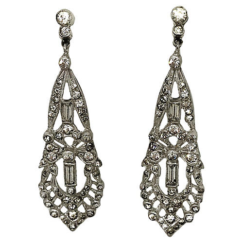 Faceted Glass Earrings, C. 1920