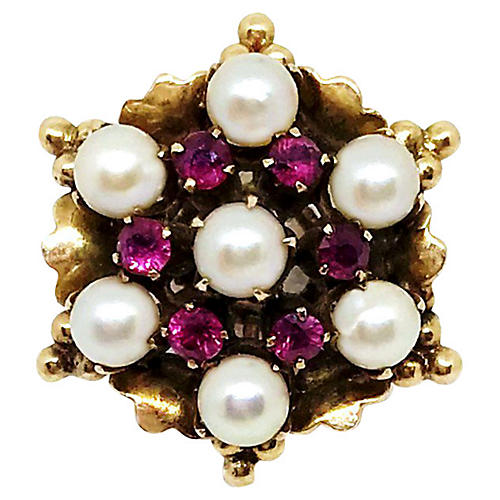 18K Ruby & Pearl Ring