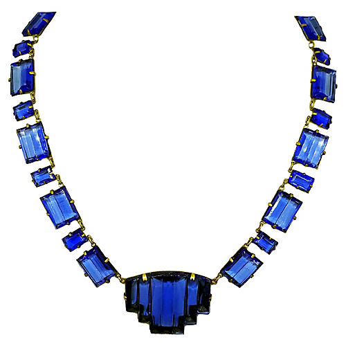 Czech Deco Molded Glass Necklace