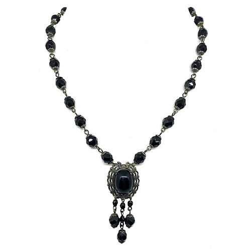 Black Faceted Glass Pendant Necklace