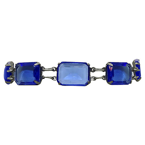 1920s Deco Blue Faceted Glass Bracelet