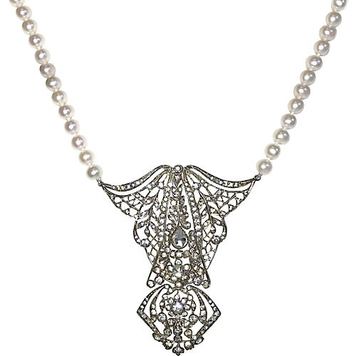 1908 Sterling and Pearl Necklace