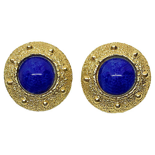 Napier Goldtone & Faux-Lapis Earrings